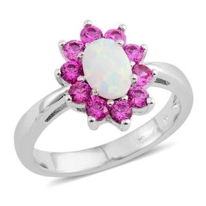 Lab created opal simulated pink diamond ring